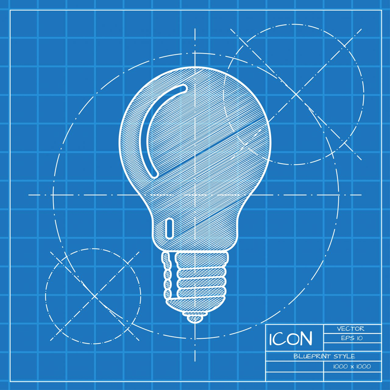 Vector blueprint lightbulb icon . Engineer and architect background.